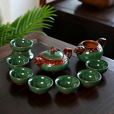 Porcelain tea set crackle glaze ceramic China kung fu tea set tea pot cups set