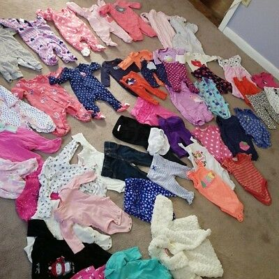 HUGE 50+ LOT 0-3 Months Baby Infant Girl Clothes Winter GREAT COND Carter's