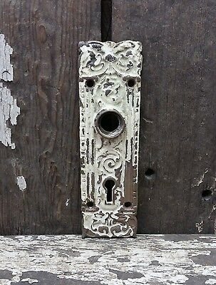 Vtg Old Fancy SHABBY Ornate Cast Iron Mythical Fish Door Knob Keyhole Backplate