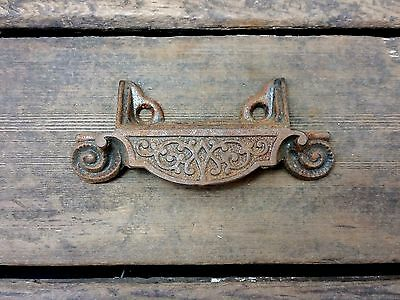 "Vtg UNIQUE Old FANCY Cast Iron Rustic Bin Pull Handle Apothecary Chest Desk 2""CC"