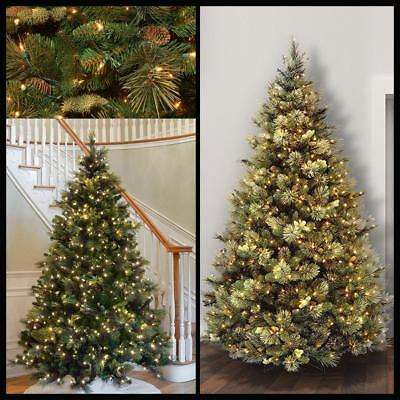 Pre Lighted 7 5ft Carolina Pine Christmas Tree W Flocked Cones 750 Clear Lights