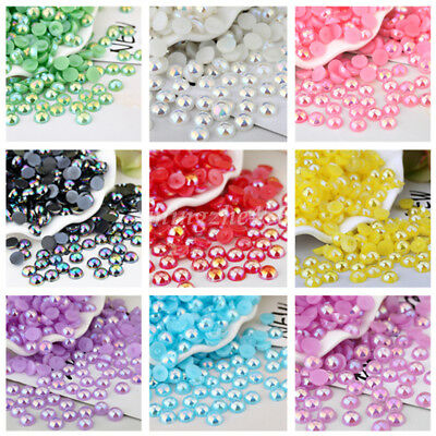 50Pcs Faux Half Pearl Round DIY Bead Flat Back 10mm Scrapbook for Craft FlatBack