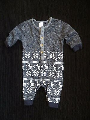 Baby clothes BOY 0-3m navy/white footless playsuit/babygrow snowflake/Christmas