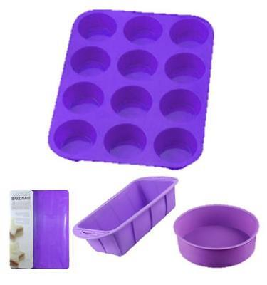 Purple Silicone Cake Baking Set Baking Mat / 12 Hole Muffin / Loaf Moulds / Bowl