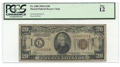 1934 A $20 Hawaii Federal Reserve Note, Fr. 2305, PCGS Fine 12