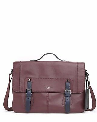 450b173136a5  850 Ted Baker Mens Brown Leather Flapover Laptop Briefcase Work Messenger  Bag