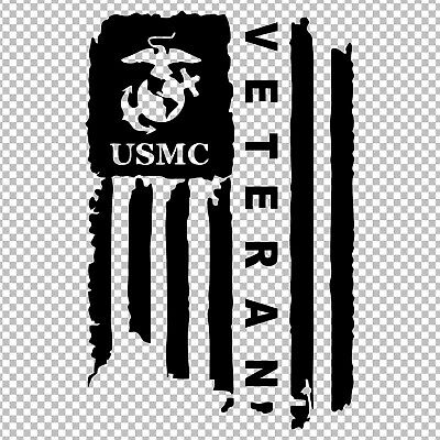 Marine Corps Veteran Usmc American Flag Distressed Semper Fi Vinyl Sticker Decal