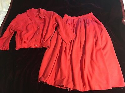 """Vintage 1950's """"Haymaker"""" Light Wool Partially Lined Hot Pink Suit SZ SMALL"""