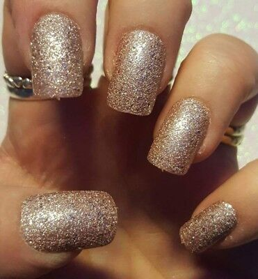 LEANNES 24 short square glue on false nails NUDE BLING GLITTER CRYSTAL