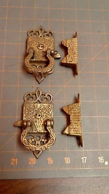 Pair Ice Box Latches Victorian Cast Brass Circa 1880 Antique