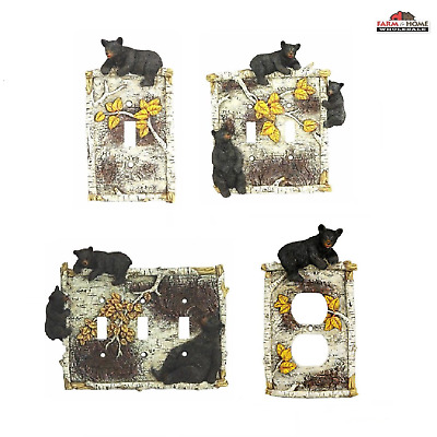 Black Bear Branch Switch Plate Covers & Receptacle ~ Lodge Cabin ~ New