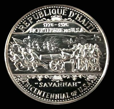 1974 Silver Haiti Proof 25 Gourdes Usa Bicentennial Coin Only 600 Minted