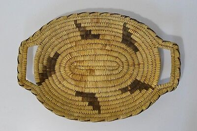 Vintage Native American Papago Pictorial BASKET Tray with Handles