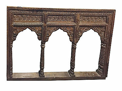 Antique JHAROKHA Arch Mirror Hand Carved Decorative wall Hanging RUSTIC FARMHOUS