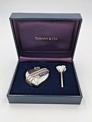 Vintage Tiffany & Co. Sterling Silver Heart Perfume Bottle with funnel and Case
