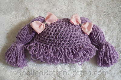 fe225ee32ec Cabbage Patch Kid Crochet Hat Wig Purple Pigtails Infant Toddler Adult CPK