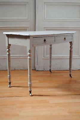 Antique C19th Painted Hall Table - Rustic Farmhouse French Provincial Chic