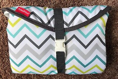 Fisher Price Diaper Bag Changing Pad Wipe Holder Clutch Chevron Blue Gray