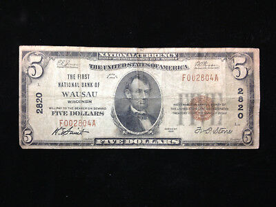 $5 1929 Wausau Wisconsin WI National Currency Bank Note Bill! Ch. #2820 VG