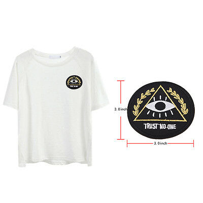 Fashion diy trust no one patch embroidered applique sew iron on patch badge 3C