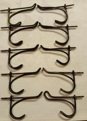 Lot of 10 Vintage Screw In Twisted Wire Rustic, Primitive Closet Hangers Hooks