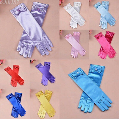 1 Pair Girls Long Satin Gloves Kids Bow Sleeves Gloves Party Wedding Performance