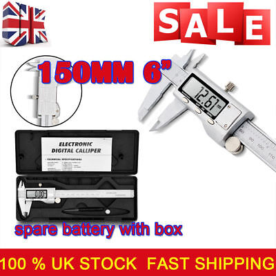 "150mm 6"" Stainless Steel Electronic Digital Vernier Caliper Depth Measurement UK"