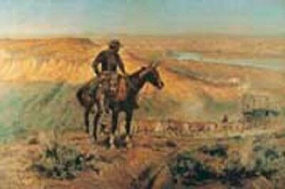 WAGON BOSS ART PRINT BY CHARLES RUSSELL cowboy horse western wagon train poster