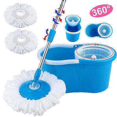 360° Rotating Head Easy Magic Floor Mop Bucket 2 Head Microfiber Spinning Blue