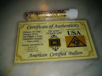 1 Grain 24K Gold Bar with 3.0 Gram Gold Flakes