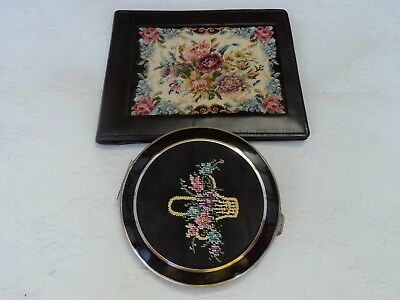 Vintage powder needlepoint compact flower basket detail and matching wallet.