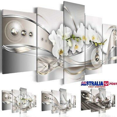 5 Panel Canvas Print Modern Picture Wall Art Decor Home Abstract Flower Framed