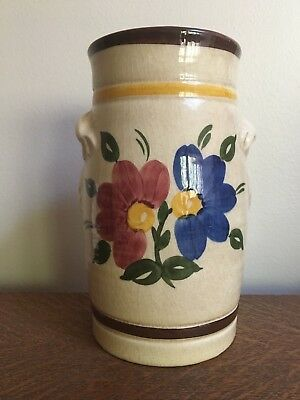 "GOEBEL W. Germany Vintage 1968 Floral Beige Pottery 8"" Vase Well #58"
