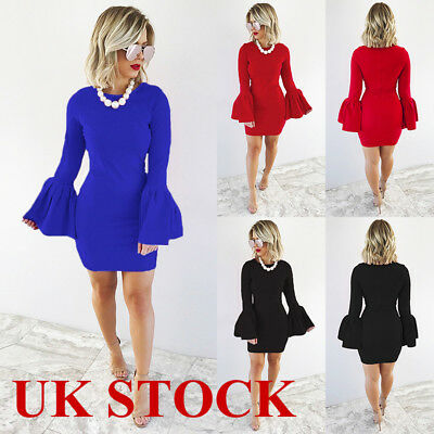 UK Womens Evening Cocktail Party Bodycon Mini Dress Long Sleeve Stretch Dresses