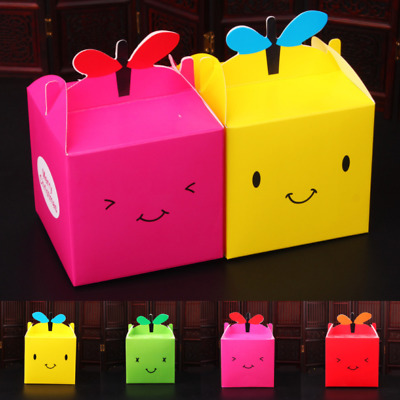 5Pcs Cute Smiling Face Card Paper Box Christmas Apple Box Bake West Point Boxes