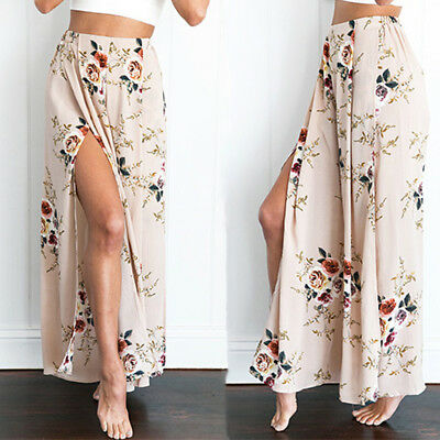Women High Waist Floral Wide Leg Loose Split Summer Beach Casual Palazzo Pants