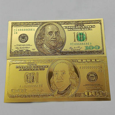 1pcs 1:1 $100 dollar 24k Gold Foil Golden USD Paper Money Banknotes Crafts