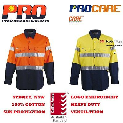 1x Hi Vis Work Shirt with vent cotton drill 3M Ref Tape SAFETY long sleeves