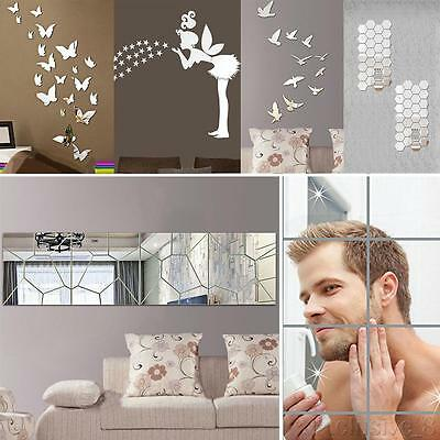 Modern Art Removable Mirror DIY Decal Vinyl 3D Acrylic Wall Sticker Home Decor