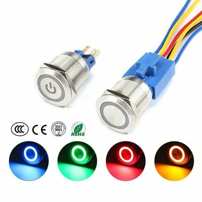22mm 6V-220V Red/Green/Blue/Yellow LED S/S Metal Waterproof Push Button Switch