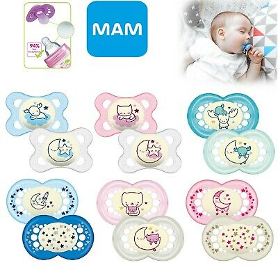Baby Soother Dummy Pacifier Teat Nipple 6m+ 12m+ 2 Pack Boy / Girl Mam Night