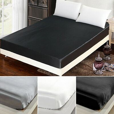 1000TC Soft Silky Ultra Imitation Silk Summer Cool Stain Fitted Sheet Bed Cover