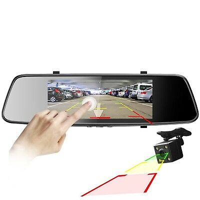 "FREE SHIPPING! 7"" Rearview Mirror Touch Screen Dash Cam Front and Rear Dual Cam"