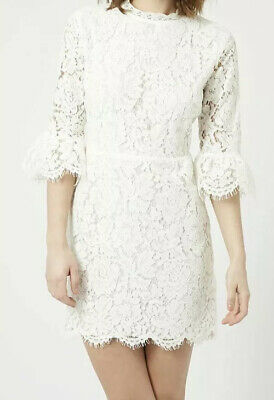 735fc7596b8b NWT NORDSTROM TOPSHOP Ivory Fluted Sleeve Lace Overlay Women's Dress ...