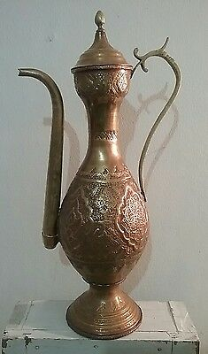 Antique Large Brass Persian Jug.  46cms height