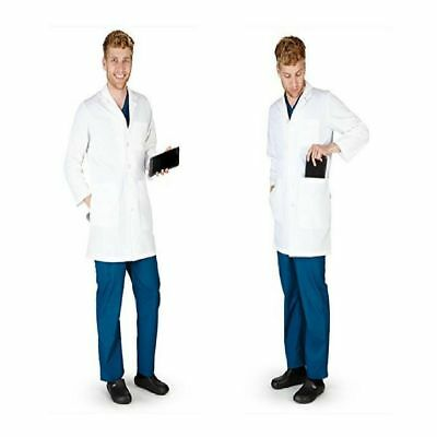 "38""  LAB COAT LENGTH Medical Doctor White Lab Coat Jackets Nursing Unisex 2017"