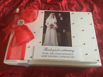40th Anniversary Gift Ruby Wedding Anniversary Guest Book Album Customised