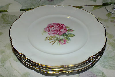Hutschenreuther Germany The Dundee Pink Roses Dinner Plates 4   Euc