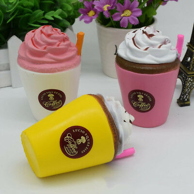 Jumbo Coffee Cup Squishy Cream Scented Slow Rising Kids Toy Soft Phone Strap US