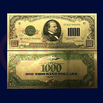 24K Gold Plated 1928 $1000 Us Currency Dollar Banknote Novelty Money W-Sleeve